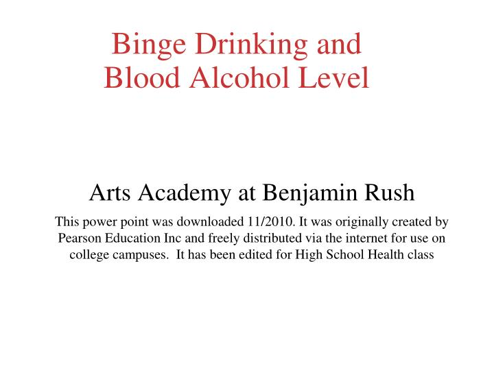 binge drinking and blood alcohol level n.