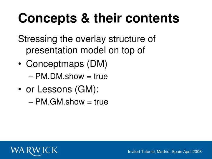 Concepts & their contents