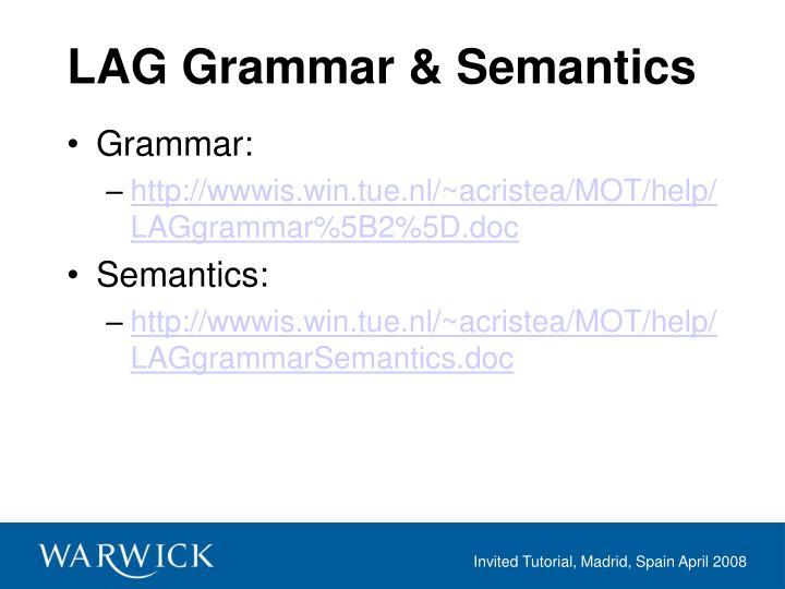 Lag grammar semantics