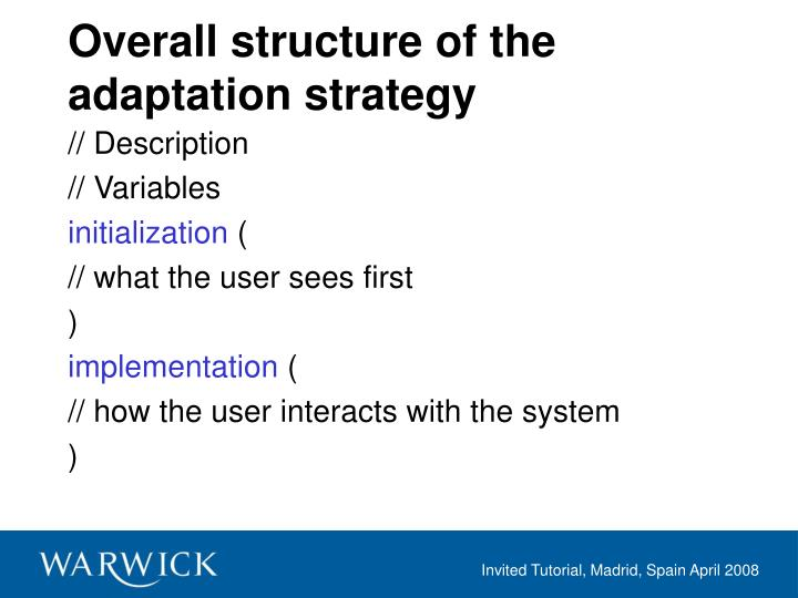 Overall structure of the adaptation strategy