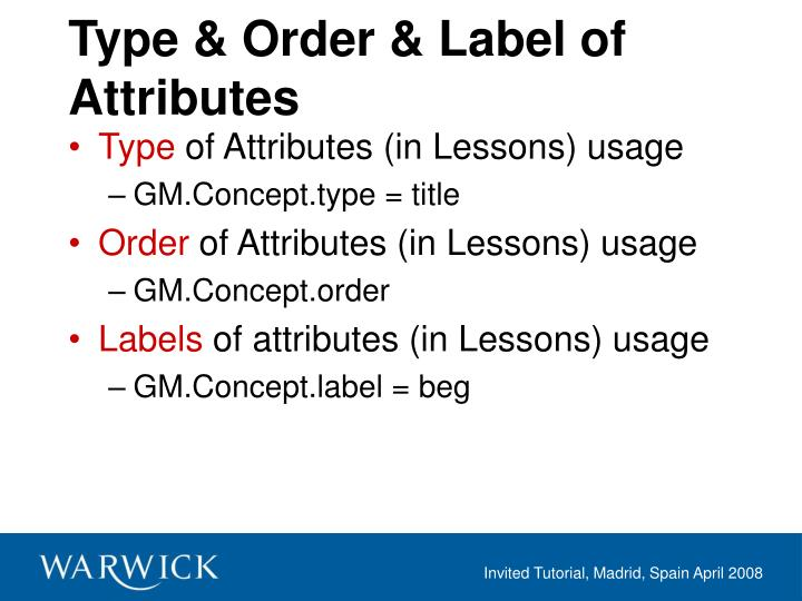 Type & Order & Label of Attributes