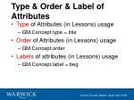 type order label of attributes