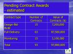 pending contract awards estimated