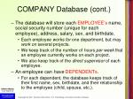 company database cont