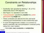 constraints on relationships cont