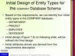 initial design of entity types for the company database schema