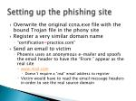 setting up the phishing site