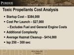 toxic propellants cost analysis