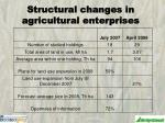 structural changes in agricultural enterprises