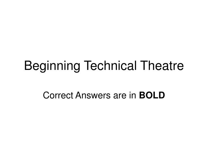 beginning technical theatre n.