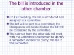 the bill is introduced in the other chamber