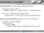 authorization in core rbac
