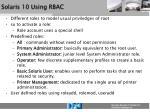 solaris 10 using rbac