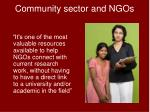 community sector and ngos