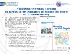 measuring the wsis targets 10 targets 49 indicators to assess the global information society
