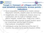 target 1 connect all villages with icts and establish community access points indicators