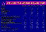 exchange fund abridged balance sheet