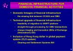 financial infrastructure for domestic financial activities