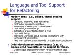 language and tool support for refactoring