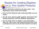 recipes for creating disasters a k a poor quality products