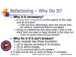 refactoring why do it