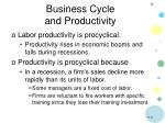 business cycle and productivity