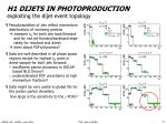 h1 dijets in photoproduction exploiting the dijet event topology