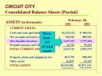 circuit city consolidated balance sheets partial
