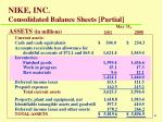 nike inc consolidated balance sheets partial