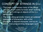 concept of strings in c