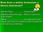 how does a writer formulate a thesis statement