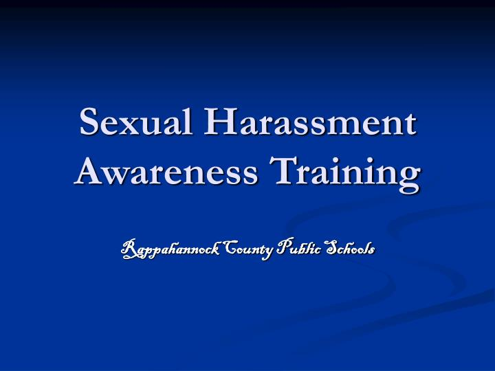 sexual harassment awareness training n.