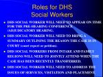 roles for dhs social workers