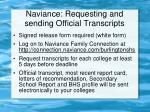 naviance requesting and sending official transcripts