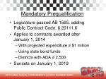mandatory prequalification