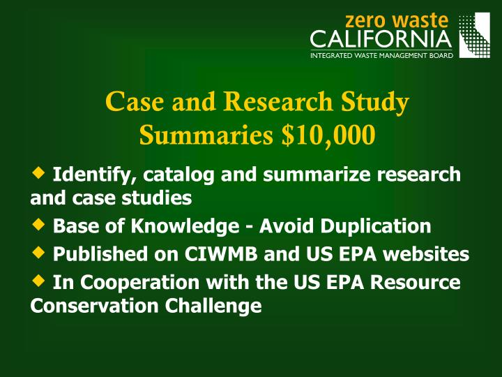 Case and Research Study Summaries $10,000