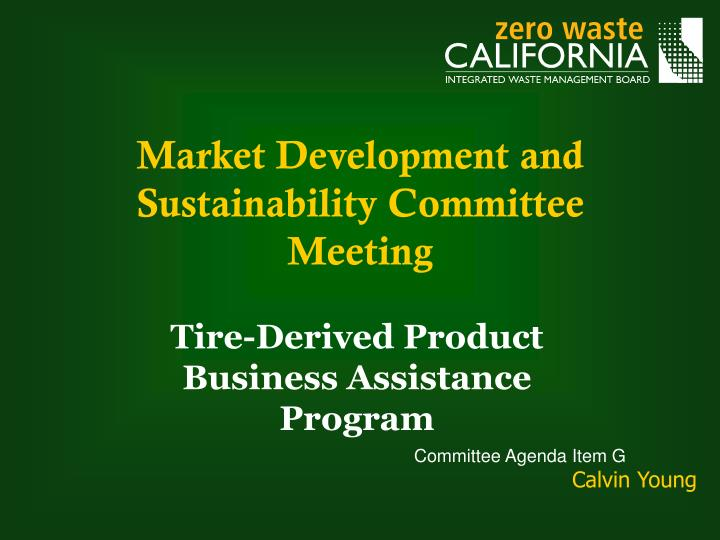 market development and sustainability committee meeting n.