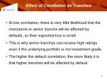 effect of correlation on tranches