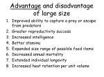 advantage and disadvantage of large size