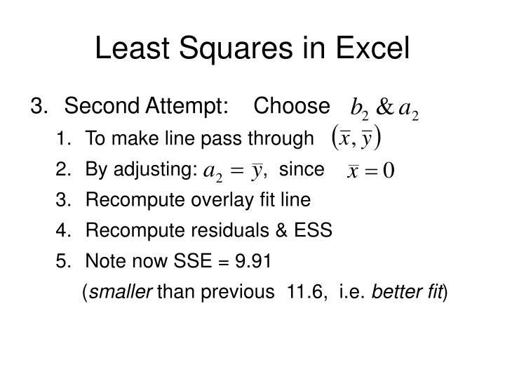 Least Squares in Excel
