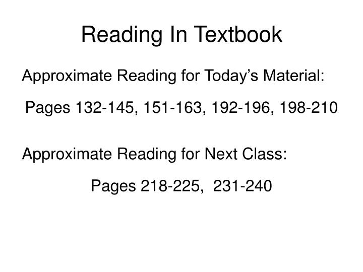 Reading in textbook