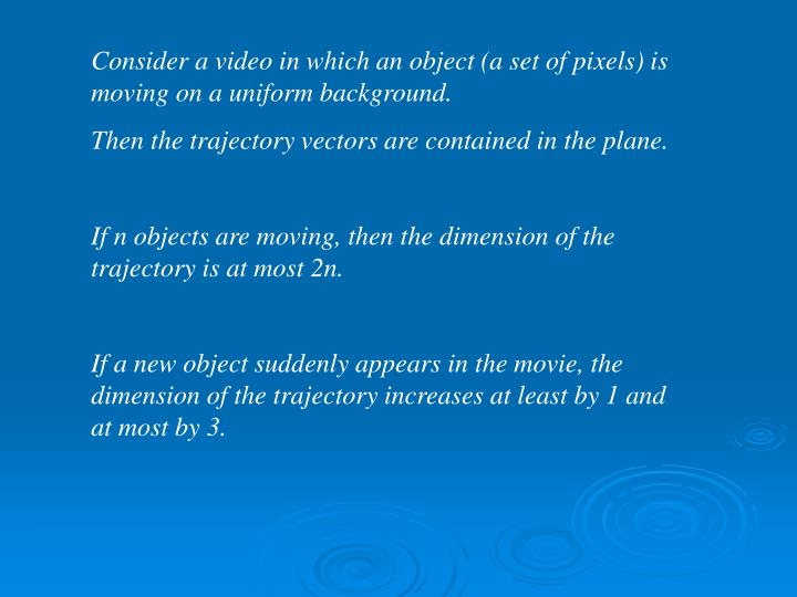 Consider a video in which an object (a set of