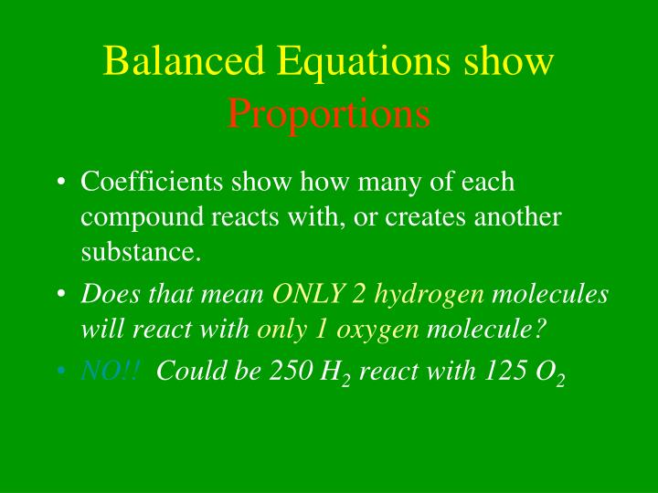 Balanced Equations show