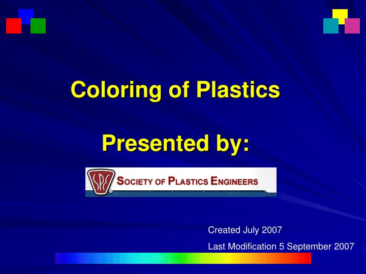 coloring of plastics presented by n.