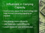 influences in carrying capacity