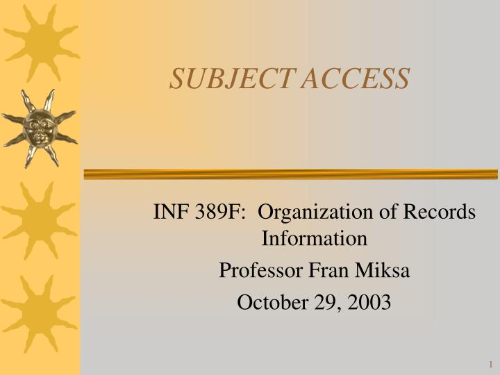 subject access n.