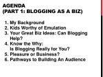 agenda part 1 blogging as a biz
