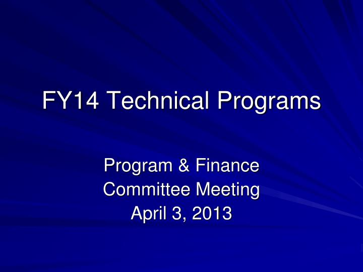 fy14 technical programs n.