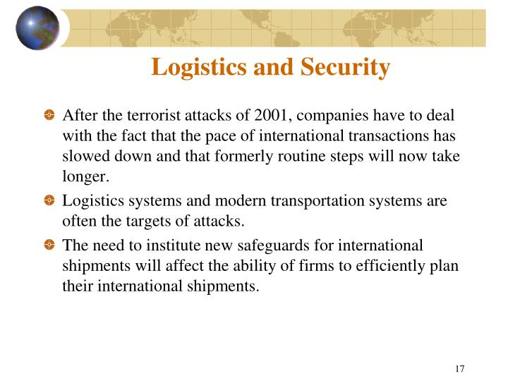 Logistics and Security
