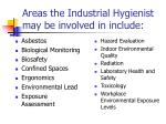 areas the industrial hygienist may be involved in include